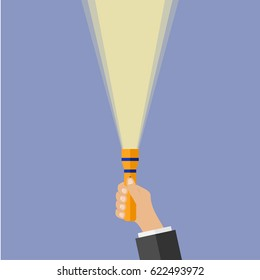 A flashlight in the hand. Flat design, vector illustration, vector.