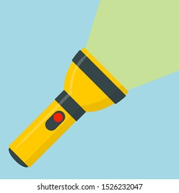 Flashlight icon flat design yellow portable torch vector icon illustration