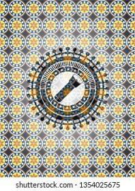 flashlight icon inside arabic emblem background. Arabesque decoration.