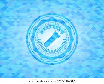 flashlight icon inside light blue emblem. Mosaic background