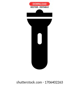 flashlight icon or logo isolated sign symbol vector illustration - high quality black style vector icons