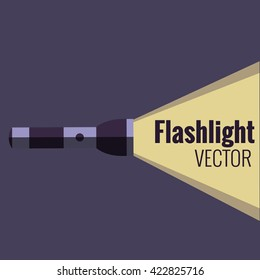 Flashlight  icon on night background isolated. Vector flat flashlight illustration. Concept of flat flashlight in dark. Colorful flashlight icon for your design. Pocket flashlight icon