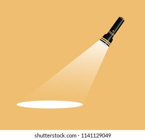 Flashlight icon.Vector flat illustration.Competition flat flashlight in white.for advertising and text.