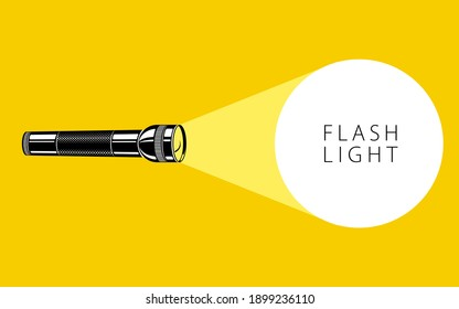 Flashlight illumination vector advertising poster illustration with copy space for text, flat style template for banner, background or wallpaper.