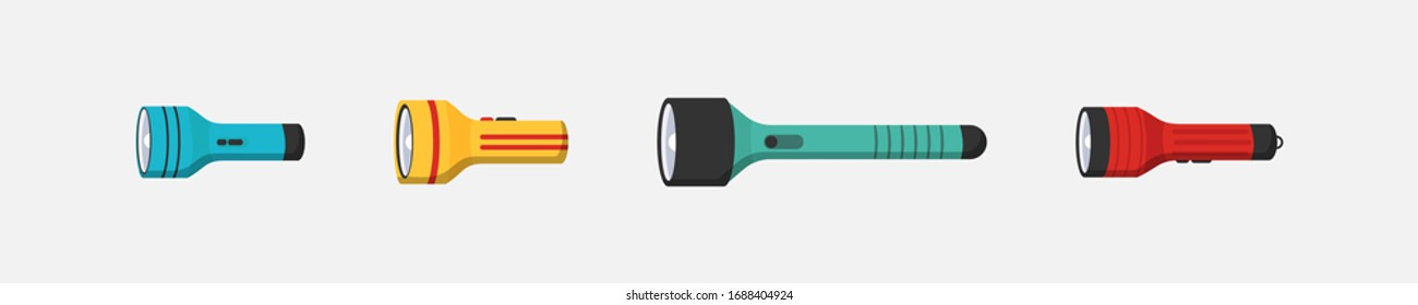 Flashlight of light vector flat set icon. Flashlight lighting with spotlight or flash. Illustration set of flashing light lantern isolated on white background. Vector illustration, EPS 10.