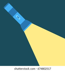 Flashlight and a ray of light. Isolated vector illustration.