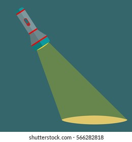 Flashlight shining a beam of light in the darkness vector concept