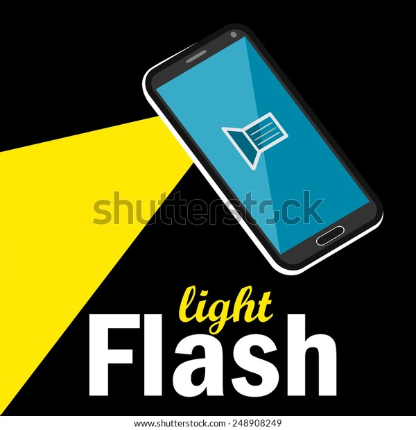 Flashlight or torch flat design icon useful for smartphone, cell phone app layout.