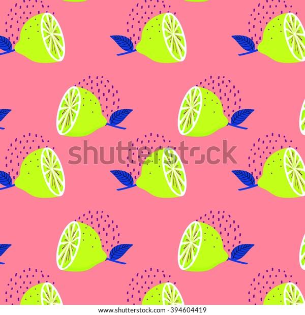 Flashy Neon Color Lemon Pattern Wallpaper Stock Vector Royalty