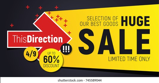 Flashy sale banner. Arrow motif with lot of space around. Perfect for seasonal discounts, black friday sales and else.