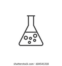 Flask, beaker line icon, outline vector sign, linear style pictogram isolated on white. Chemical laboratory glassware symbol, logo illustration. Editable stroke. Pixel perfect