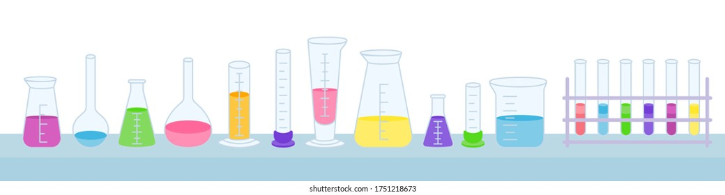Flask and beaker, microscope, jars. Equipment lab science chemistry, flat cartoon set. Erlenmeyer flask, distilling, volumetric, test tube. lab research elements stand on table. Vector illustration
