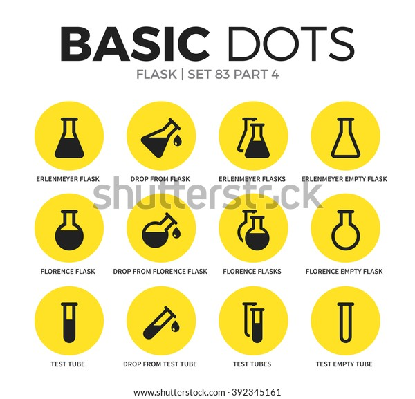 Flask Flat Icons Set Test Tubes Stock Vector (Royalty Free