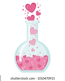 Flask with hearts icon in flat style isolated on white background. Love elixir logo. Concept or Love Potion. Vector illustration. Valentines Day background congratulation card. Chemistry of love.