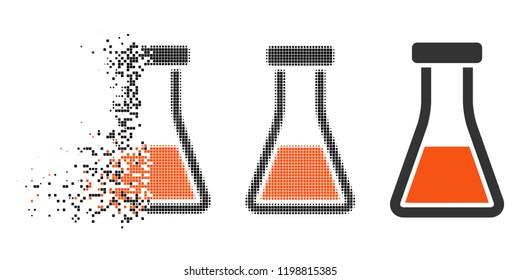 Flask icon in disappearing, pixelated halftone and undamaged entire variants. Particles are organized into vector disappearing flask icon. Disappearing effect uses square pixels.