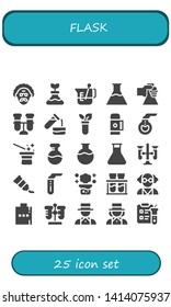 flask icon set. 25 filled flask icons.  Collection Of - Scientist, Flask, Beaker, Flasks, Test tube, Thermo, Florence Magician, Test tubes, Tube, Chemical reaction, Chemical
