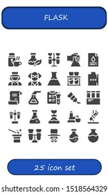 flask icon set. 25 filled flask icons.  Simple modern icons about  - Thermo, Flask, Chemistry, Blood test, Magician, Mad scientist, Flasks, Chemical, Hip Spell, Science