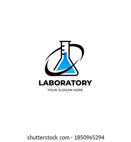 Flask logo for Laboratory, chemistry, chemical research laboratory, science, biotechnology logo design concepts.