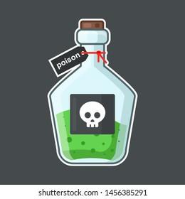 flask with poison on a black background. skull label. hazardous fluid. medical agent. flat vector illustration.