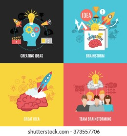 Flat 2x2 abstract compositions presenting creating ideas great idea brainstorm and team brainstorming vector illustration