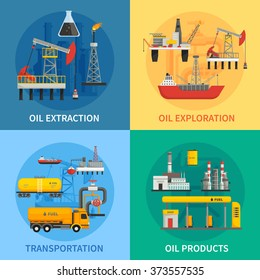 Flat 2x2 images presenting oil petrol industry oil exploration extraction transportation products vector illustration