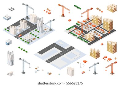 Flat 3d architectural set isometric creative planning, web infographic vector. Skyscraper building sketch plan construction place builders crane process. Kit of lorry, business, innovation concept.