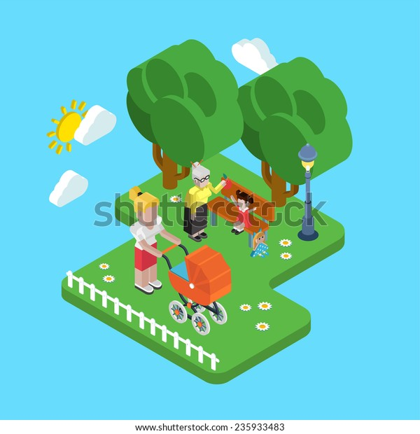 Flat 3d Family Parenting Generations Children Stock Vector Royalty Free 235933483