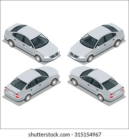 Flat 3d high quality city transport icon set. Sedan automobile. Isometric gray car.