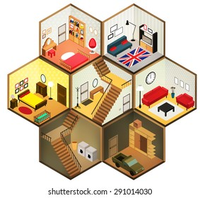 Flat 3d isometric abstract  interior living rooms. Vector isometric rooms icon