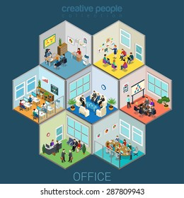 Flat 3d isometric abstract office interior room cells company workers staff concept vector infographics. Reception, meeting conference, training class, accounting, open space. Creative business people