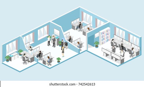 Flat 3d isometric abstract office floor interior departments concept vector.