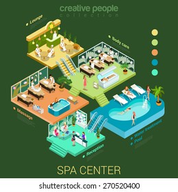 Flat 3d isometric abstract spa salon center floor interior departments concept vector. Reception water pool massage body care lounge health lifestyle stairs. Creative relax care people collection.