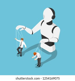 Flat 3d isometric Ai robot controlling businessman like a puppet. Artificial intelligence technology concept.