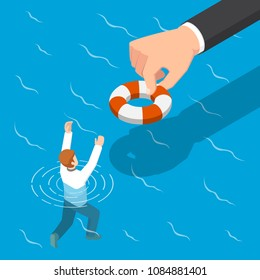 Flat 3d isometric big hand giving a lifebuoy to help businessman. Helping business to survive concept.
