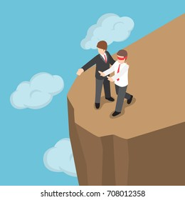 Flat 3d isometric boss introduced blindfolded businessman to walk to the cliff. Business character bad boss and eliminate business rival concept