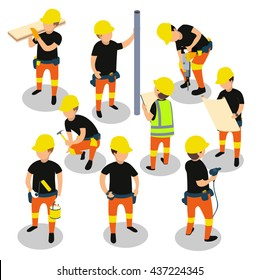 Flat 3d isometric builder construction worker icon set concept web infographics vector illustration.