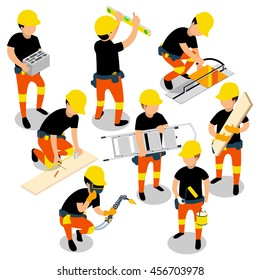 Flat 3d isometric builder construction worker icon set concept web infographics vector illustration.