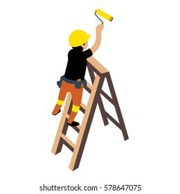 Flat 3d Isometric Builder Construction Worker Icon Set Concept Web Vector Illustration.