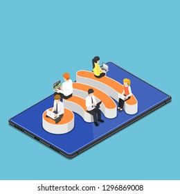 Flat 3d isometric busienss people with laptops working while sitting on Wi-Fi hotspot icon on digital tablet. Wi-Fi hotspot wireless network and internet connection concept.