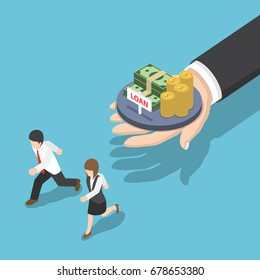 Flat 3d Isometric Business People Running Away from Loan Offer, Loan and Debt Concept