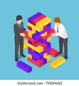 Flat 3d isometric business people playing wood tower toy. Business competition and strategy concept.