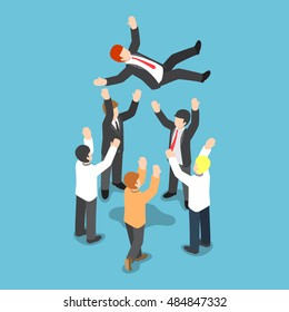 Flat 3d isometric businessman being throw up in the air by his team, business success and the expression of love and respect for team leader