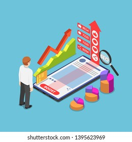 Flat 3d isometric businessman boost his content by advertising on social network and internet. Content marketing and online advertising concept.