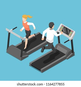 Flat 3d isometric businessman and businesswoman running on treadmill. Business training concept.