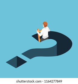 Flat 3d isometric businessman climbing up from question mark hole. Business solution concept.
