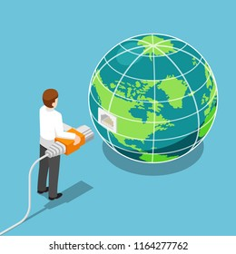 Flat 3d isometric businessman connecting network cable to the world. Global communication and network connection concept.
