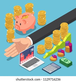 Flat 3d isometric businessman divide the money for saving and investing. Money and financial management concept.