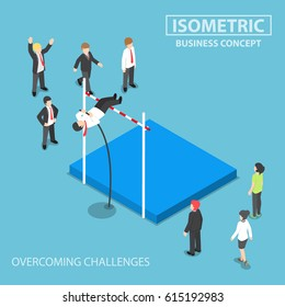 Flat 3d isometric businessman doing the pole vault, overcoming business problems and obstacles concept