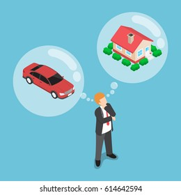 Flat 3d isometric businessman dreaming about house and car, daydreaming, future financial plan concept