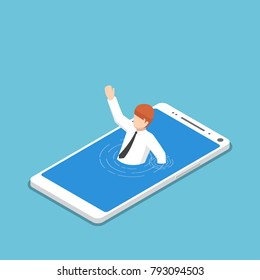 Flat 3d isometric businessman drowning in smartphone. Smartphone or mobile addiction concept.